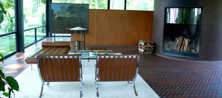 Interior view. Furnishings from Mies van der Rohe's Barcelona collection.