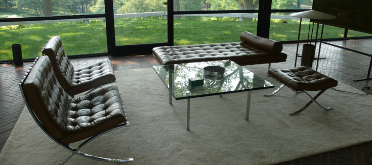 The living room furnished with Mies van der Rohe's Barcelona collection.