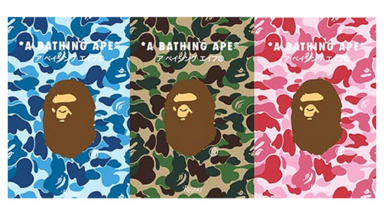 Three different cover variations for Bape's latest book