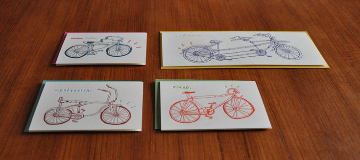 The bike series, a part of enormouschampion's artist collection, illustrated by Tim Fite