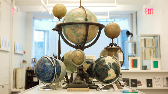 The center piece of the store, George Glazer's collection of globes