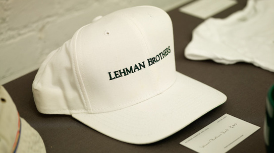 A collection of Lehman Brothers swag