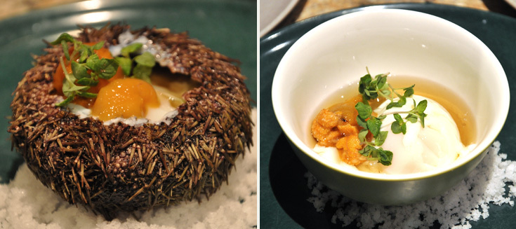 Pork trotter and apple soup with fried potatoes; slow-cooked egg with sea urchin in a dashi broth