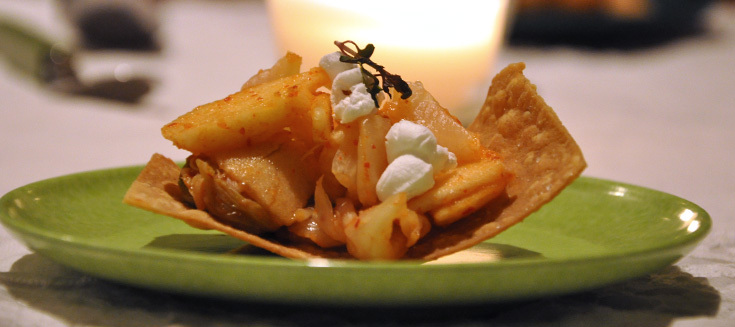 Kimchi, apples and popcorn, on a homemade chip