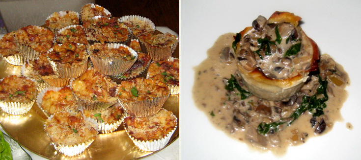 Left: Mini Mac Cups Right: Lasagna with Wild Mushroom Ragu