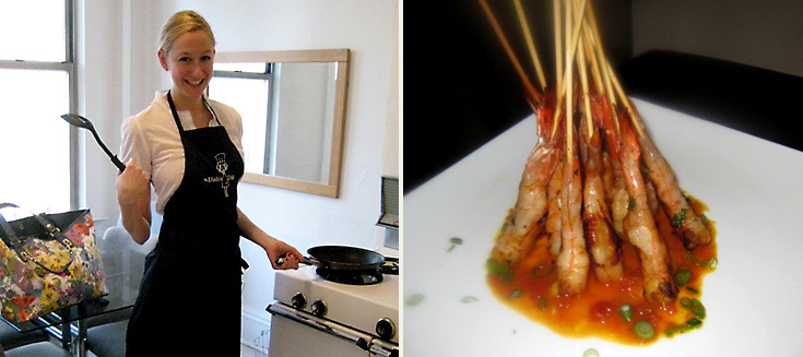 Left: Jill Donenfeld Right: Whiskey Prawn Skewers w/Tomato Curry