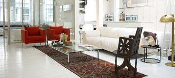 Before - Piero Lissoni for Living Divani - Softwall Sofa, Box series chairs and Metro2 table, Ile side table.<br> Vintage and Flea market accessory pieces. Lighting by Flos.