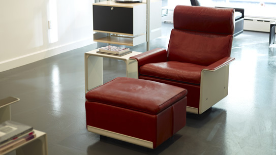 A 620 with a footstool designed by Dieter Rams