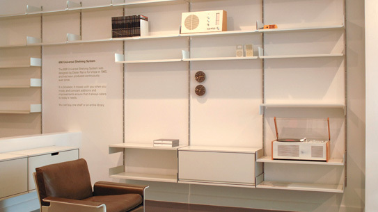 Vintage Braun pieces are sparsely displayed throughout the store