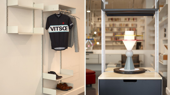 Left: Vitsœ's cycle jersey Right: A Memphis lamp