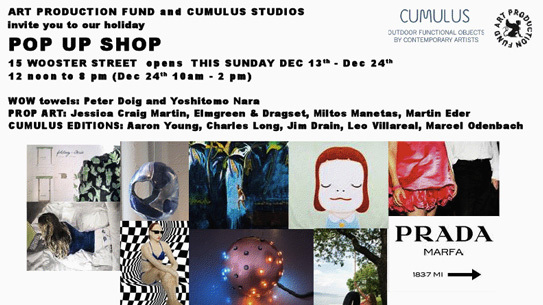 Art Production Fund and Cumulus Studios' Pop Up Shop