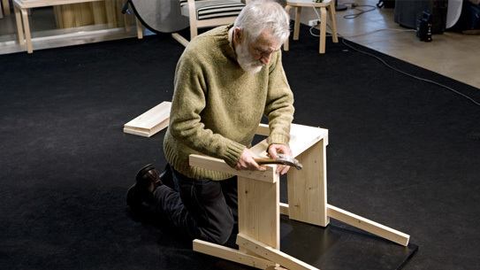 Enzo Mari assembling the Sedia 1 Chair