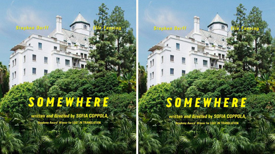 Details from the poster <i>Somewhere</i>, Sofia Coppola's latest movie