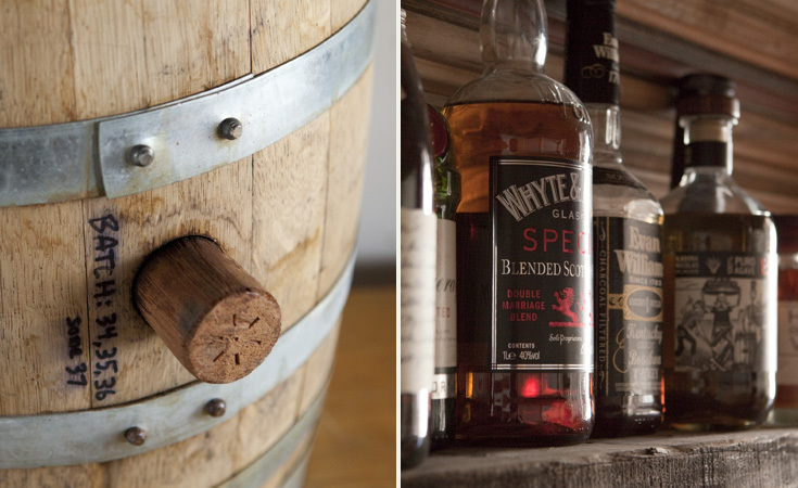 Left: A barrel of whiskey from Kings County Distillery Right: The Bar