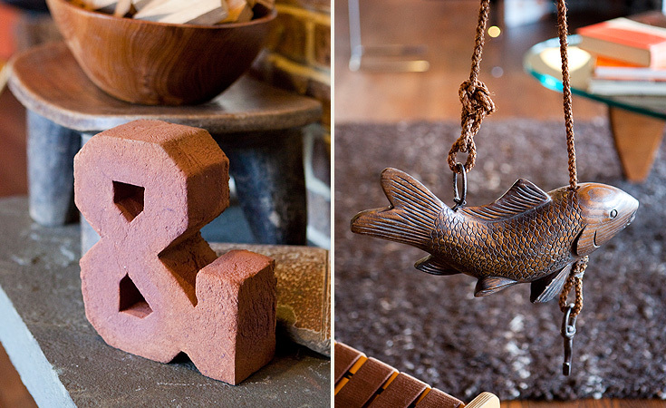 Left: Ampersands can be found throughout the house Right: A hand carved carp found at a flea market in Japan