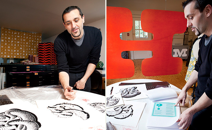 Left: Andy Cruz going through different House 33 logo sketches. Right: Cruz points to a page from PLINC