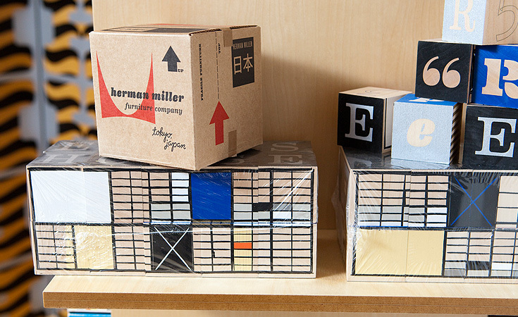 A Herman Miller Japanese exclusive block set sits ontop the Eames Blocks.