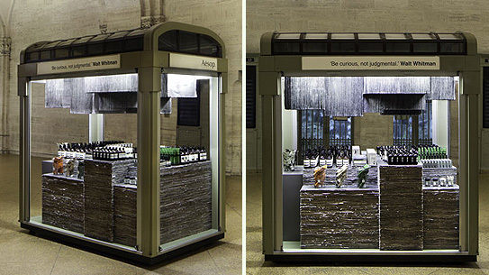 The Aesop Grand Central Terminal kiosk uses scraps from The New York Times as counter space.