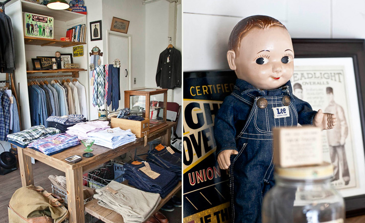 The shop is lined with paraphernalia from the golden age of workwear including this Buddy Lee doll.