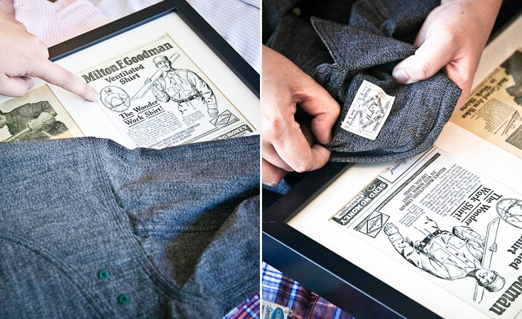 Takashi Tateno shows how the stitching and labels are emulated from old ads.