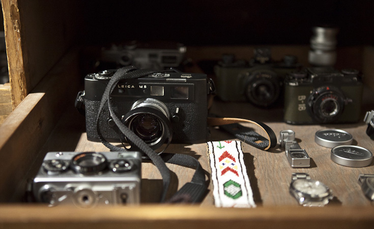 Vintage Leica and cameras inside one of the drawers.