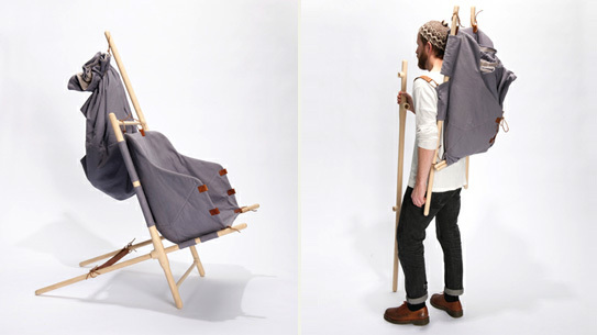 The Nordic Nomad Chair assembled and collapsed for easy transport.