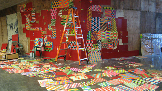 Barry McGee installation in progress.