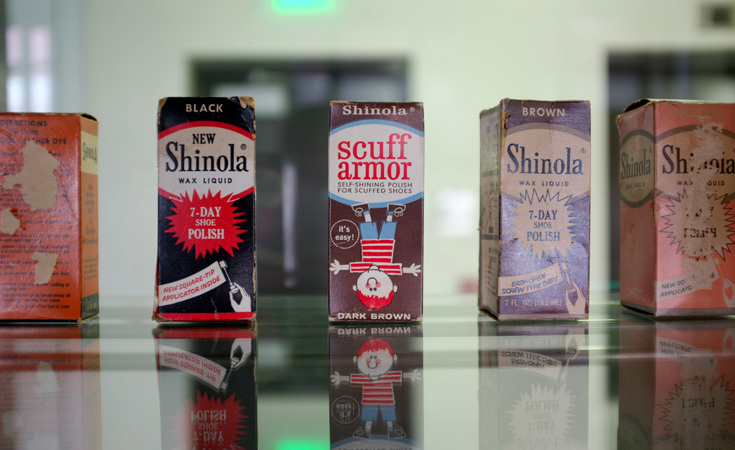 Shinola's legacy as a shoe polish is preserved in its archive.