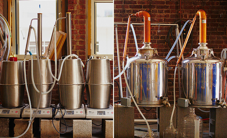 Left: 8 gallon stills previously used in their old factory. Right: 26 gallon stills for their current operation.