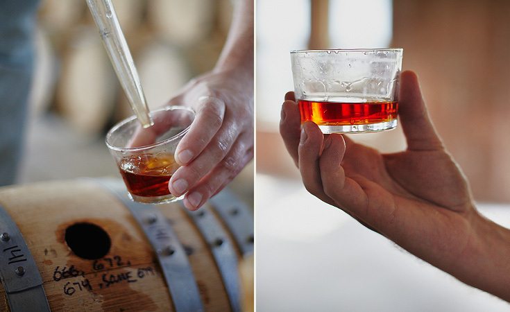 The whiskey goes in clear and comes out in a rich amber color.
