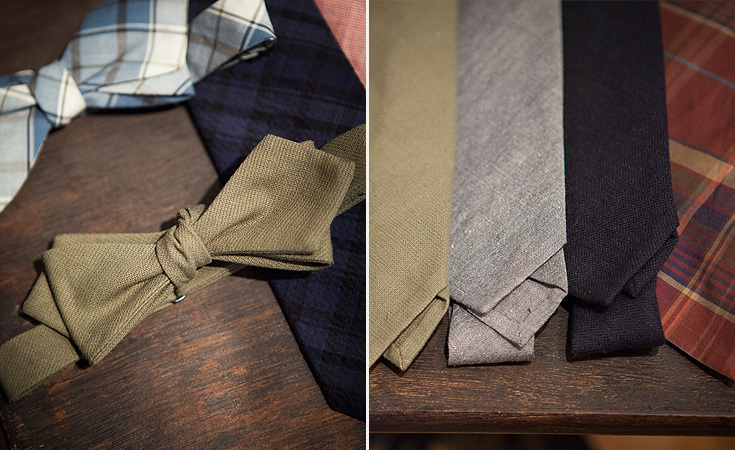 A mix of fabrics like linen chambray, linen broken twill, as well as cotton were used for the Spring / Summer 2013 accessories of bow ties and ties.