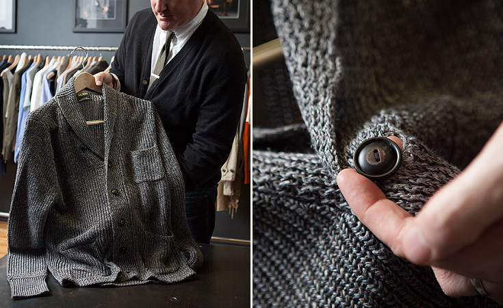 Three Pocket Shawl Neck Sweater in 100% linen with real horn buttons from the Spring / Summer 2013 collection.