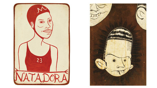 "Left: Margaret Kilgallen - ""Natadora"" Right: Barry McGee - Untitled"