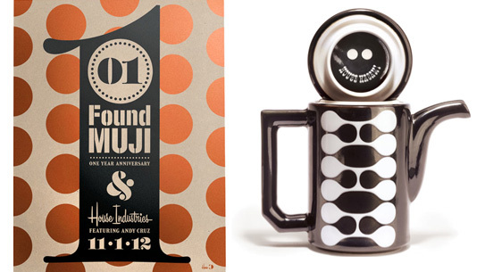 Left: Found Muji celebrates its 1 year anniversary with House Industries. Right: House & Hasami ceramic collection.