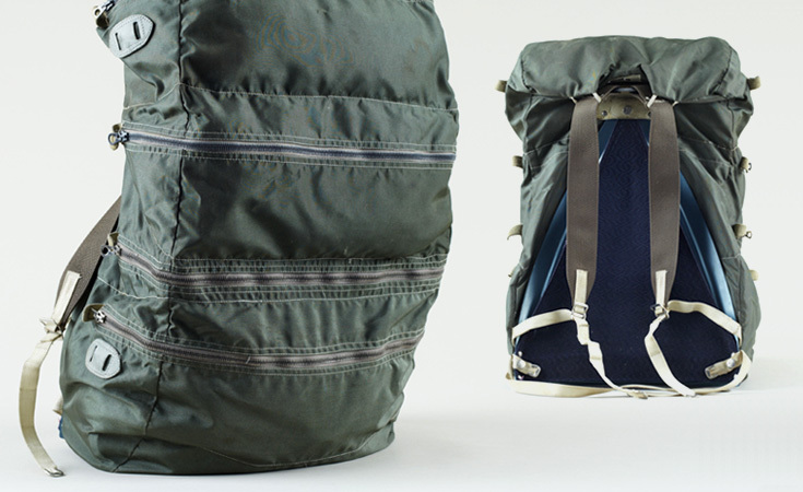 A rare army green 'Traveler Pack' from Gerry. The pack contains four compartments designed for equal weight distribution. Late '60s – early '70s.