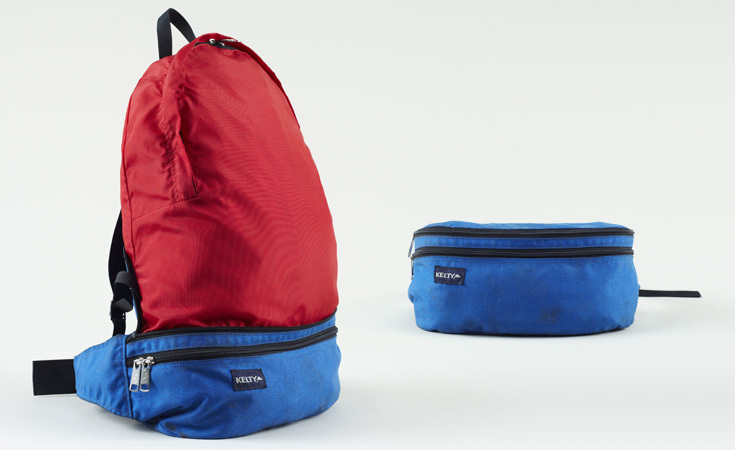 One of the pioneers in outdoor products, Kelty is still going strong today. Here is a 1970s nylon pack that folds into itself as a waist pack.