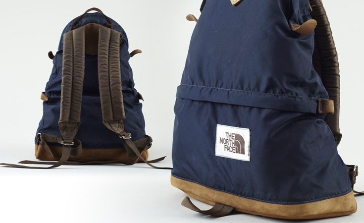 The North Face brown label teardrop backpack with foam straps. Variations of this design have felt shoulder straps. From the 1970s, possibly early 1980s.