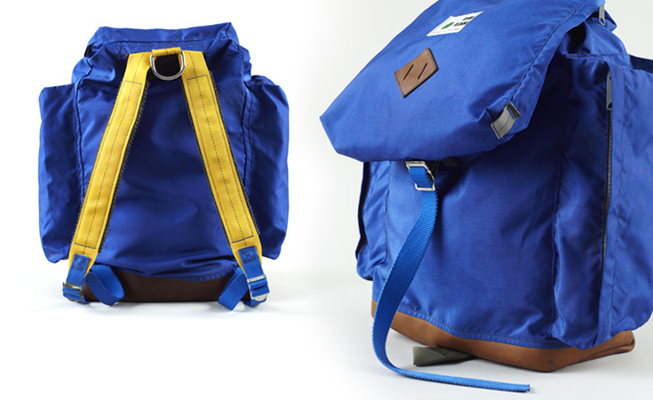 1970s Sierra Designs backpack with the original Berkeley label. Felt shoulder straps and metal hardware were common materials used for early designs.