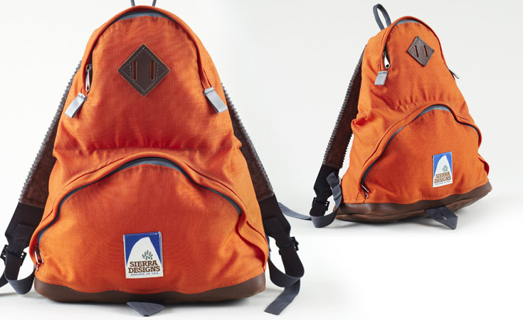 Late 1970s Sierra Designs teardrop backpack with an Oakland label. Earlier versions used a metal ring instead of a nylon strap for the pack handle.