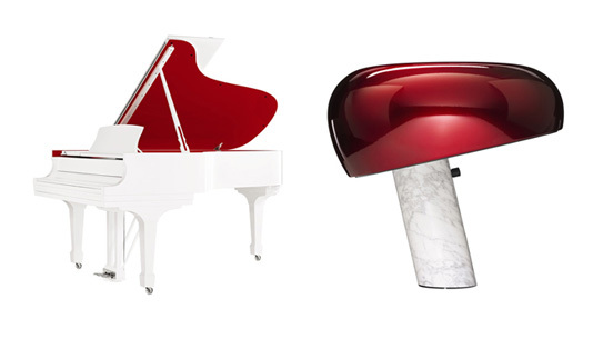 "Left: Steinway & Sons unique ""Red Pops For (Red)"" Parlor Grand Model, Right: Achille and Pier Giacomo Castiglioni ""Snoopy"" Lamp produced by FLOS"