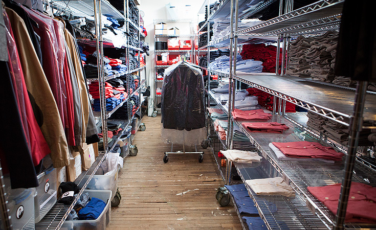 "Inside the stock room. Outlier's <a href=""http://shop.outlier.cc/shop/retail/air-forged-oxford.html"" target=""_blank"">Air Forged Oxfords</a> on the right nearly sold out less than 24 hours after it was available online."