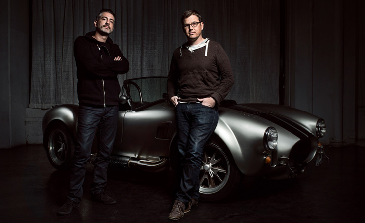 Owners Michael Prichinello and Zac Moseley in front of a 1965 Shelby Cobra