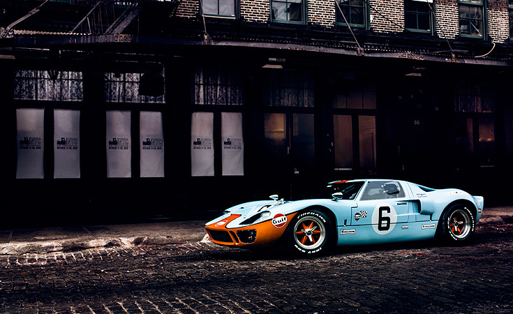 The 1966 Ford GT40 sits quietly on the cobblestone street of the Meat Packing District.