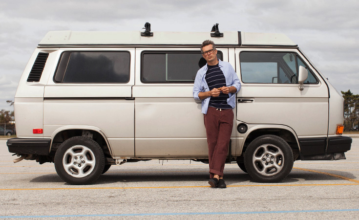 Chris Mosier in front of his Volkswagen Westfalia.