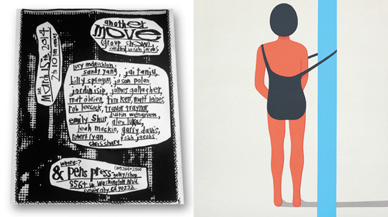 "Left: MOVE a group show curated by Rich Jacobs; Right: ""The Trap"" by Geoff McFetridge"