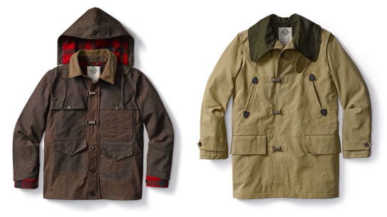 C.C. Filson Collection designed by Nigel Cabourn. Left: Work Cape Jacket; Right: Clip Coat