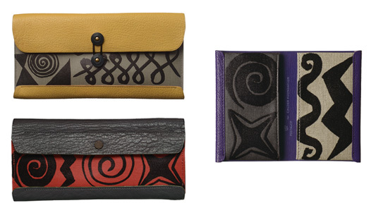 Postalco for Calder Foundation: (clockwise) Travel Wallet, Card Holder, Tool Box