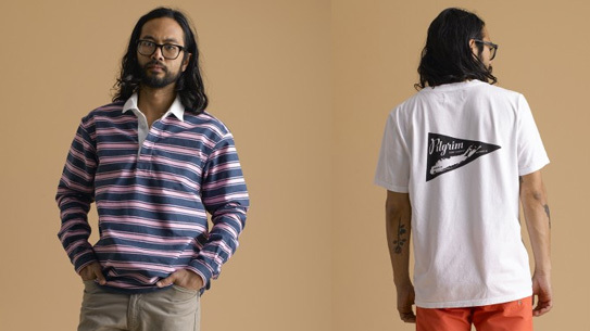Left: Hockney Rugby in Studio Stripe; Right: Long Island Tee in White