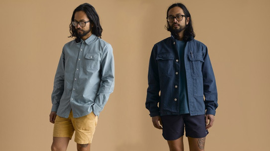 Left: Bubbie Button-Down in Hudson Blue; Matunuck Short in Goldenrod; Right: Champlin Overshirt in Boat Blue; Pocket Tee in Galaxy; Dorry Boardshort in Navy